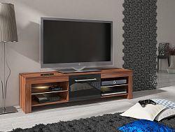 MORAVIA FLAT TV stolek FLEX, švestka wallis/černý lesk