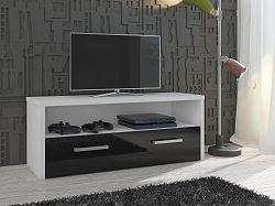MORAVIA FLAT TV stolek TIRANA, bílá/černý lesk