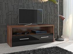 MORAVIA FLAT TV stolek TIRANA, švestka wallis/černý lesk