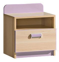 Noční stolek LORENTO L12  jasan/fialová