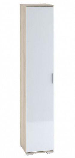 Šatní skříň 1-dveřová TERRA, sonoma/bílá lesk