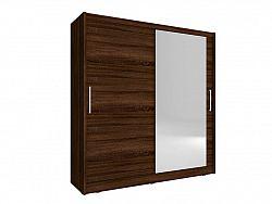 Skříň MAJA I se zrcadlem 200 cm, dub sonoma čokoládový