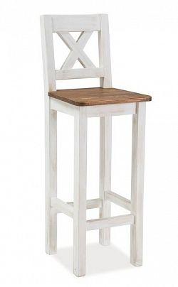 Smartshop Barová židle Poprad, masiv v barvě ořech/bělená borovice