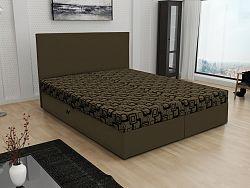 Smartshop Čalouněná postel JERRY 160x200, hnědá látka se vzorem/hnědá ekokůže