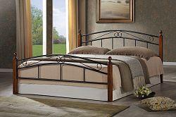 Smartshop CRETA, postel 180x200 cm s roštem, masiv/kov, třešeň antická