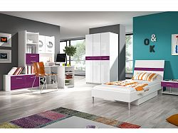 Smartshop Dětský pokoj RAJ 1, bílá/fialový lesk