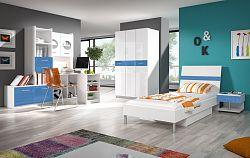 Smartshop Dětský pokoj RAJ 1, bílá/modrý lesk
