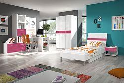 Smartshop Dětský pokoj RAJ 1, bílá/růžový lesk