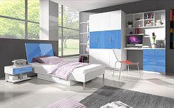 Smartshop Dětský pokoj RAJ 3, bílá/modrý lesk