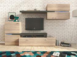 Smartshop JET obývací stěna, dub sonoma/grafit