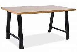 Smartshop Jídelní stůl ABRAMO 90x150, dub dýha/černý kov