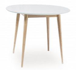 Smartshop Jídelní stůl kulatý LARSON 90x90 cm, bílá/dub