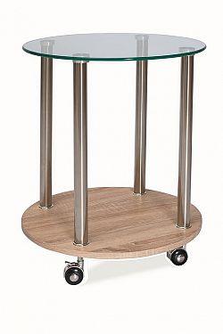 Smartshop Konferenční stolek CARLA, sklo/kov/dub sonoma