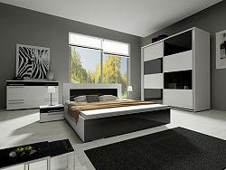 Smartshop Ložnice HAVANA II se skříní 200 cm, bílá/bílý + černý lesk