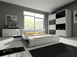 Smartshop Ložnice HAVANA III se skříní 200 cm, bílá/bílý + černý lesk
