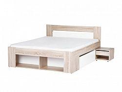 Smartshop MILO, postel 140x200 cm, dub sonoma/bílá
