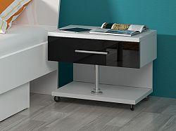 Smartshop Noční stolek RAJ, bílá/černý lesk