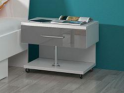 Smartshop Noční stolek RAJ, bílá/šedý lesk