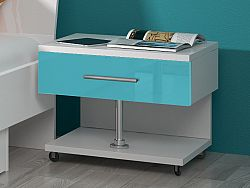 Smartshop Noční stolek RAJ, bílá/tyrkysový lesk