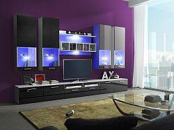 Smartshop Obývací stěna ALFA II s LED osvětlením, bílá/černý lesk
