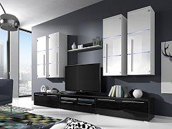 Smartshop Obývací stěna BARI s LED osvětlením, bílá/bílý lesk + černý lesk