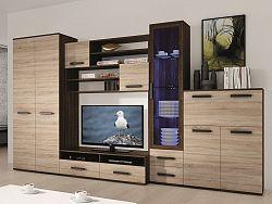 Smartshop ORION, obývací stěna, wenge/dub sonoma včetně LED