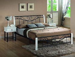 Smartshop PARMA, postel 160x200 cm, masiv/ kov, bílá/černá