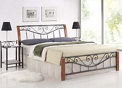 Smartshop PARMIA, postel 160x200 cm, masiv/kov, třešeň