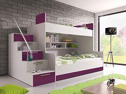 Smartshop Patrová postel RAJ 2 levá, bílá/fialový lesk