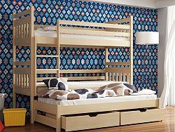 Smartshop Patrová postel s přistýlkou SEWERYN 90x190 cm, masiv borovice/barva:..