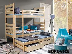 Smartshop Patrová postel s přistýlkou TOMI 80x180 cm, masiv borovice/barva:..