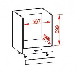 Smartshop PESEN 2 dolní skříňka DP60, korpus šedá grenola, dvířka dub sonoma