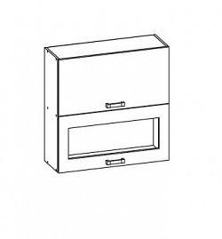 Smartshop PESEN 2 horní skříňka G2O 60/72, korpus bílá alpská, dvířka dub sonoma hnědý