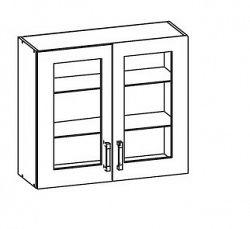 Smartshop PESEN 2 horní skříňka G80/72 vitrína, korpus bílá alpská, dvířka dub sonoma hnědý