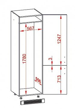 Smartshop PESEN 2 skříň na lednici DL60/207 pravá, korpus bílá alpská, dvířka dub sonoma hnědý
