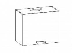 Smartshop PLATE horní skříňka GOO 60/50 s odsávačem, korpus bílá alpská, dvířka dub bělený