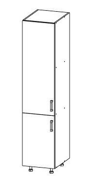 Smartshop PLATE potravinová skříň D40/207, korpus šedá grenola, dvířka dub bělený