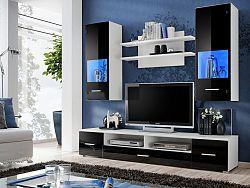 Smartshop RENO, obývací stěna, bílá/černý lesk