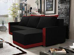 Smartshop Rohová sedačka BRAGA BIS 5, černá látka/červená látka