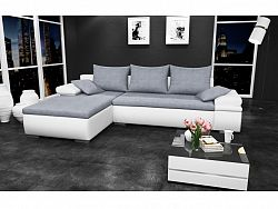 Smartshop Rohová sedačka CAESAR, levá, šedá látka/bílá ekokůže