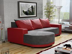 Smartshop Rohová sedačka CORDOBA, šedá látka/červená ekokůže