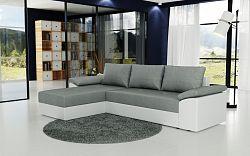Smartshop Rohová sedačka DELLAS, šedá látka/bílá ekokůže