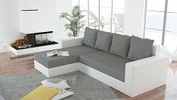 Smartshop Rohová sedačka ERON 3, univerzální, šedá/bílá ekokůže