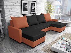 Smartshop Rohová sedačka FIESTA U 4, černá látka/oranžová látka