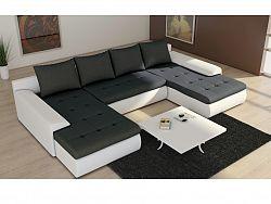 Smartshop Rohová sedačka JOI II-U2 4, šedá látka/bílá ekokůže