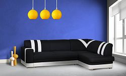 Smartshop Rohová sedačka KONGO pravá, látka černá/bílá ekokůže