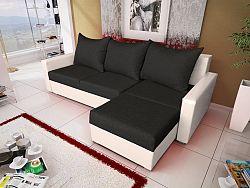 Smartshop Rohová sedačka MALAGA BIS 4, černá látka/bílá ekokůže