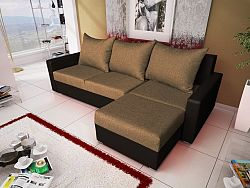 Smartshop Rohová sedačka MALAGA BIS 8, hnědá látka/černá ekokůže