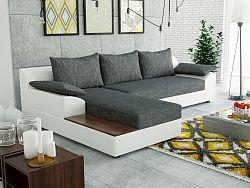 Smartshop Rohová sedačka NEMI 1 levá, šedá látka/bílá ekokůže