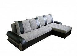 Smartshop Rohová sedačka TICO II, univerzální roh,látka šedá/černá ekokůže